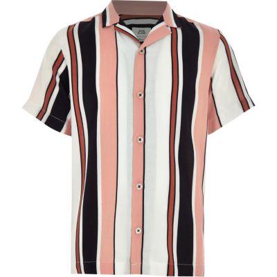 Boys White Verticle Strip Collar Shirt by River Island