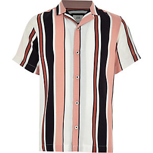 Boys white verticle strip collar shirt