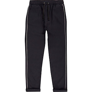 Boys navy pinstripe tape pants