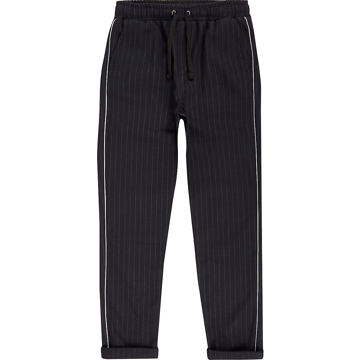 Boys navy pinstripe tape trousers