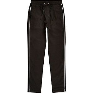 Boys black piped smart pants