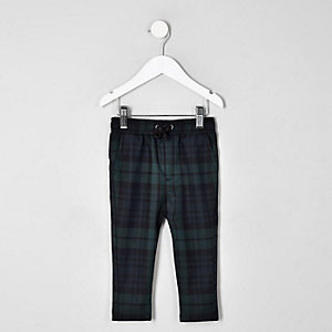Mini boys navy check trousers