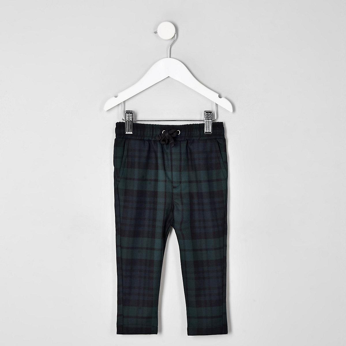 Mini boys navy check trousers