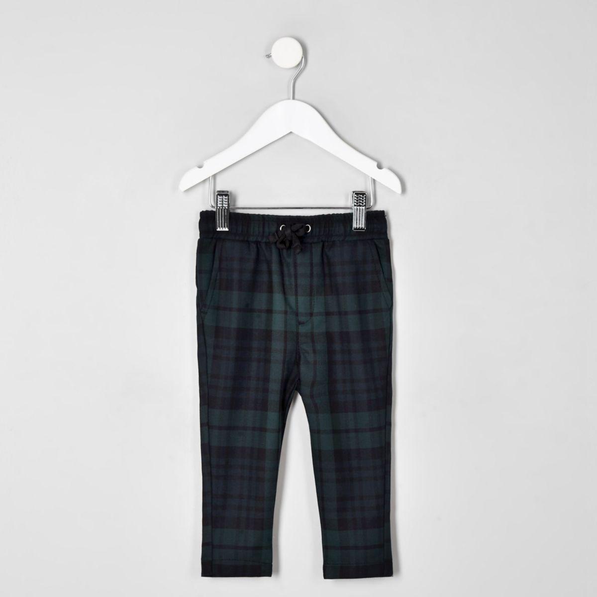 Mini boys navy check pants