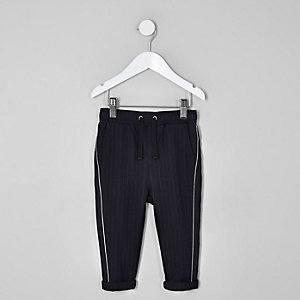 Pantalon à passepoil et fines rayures bleu marine mini garçon