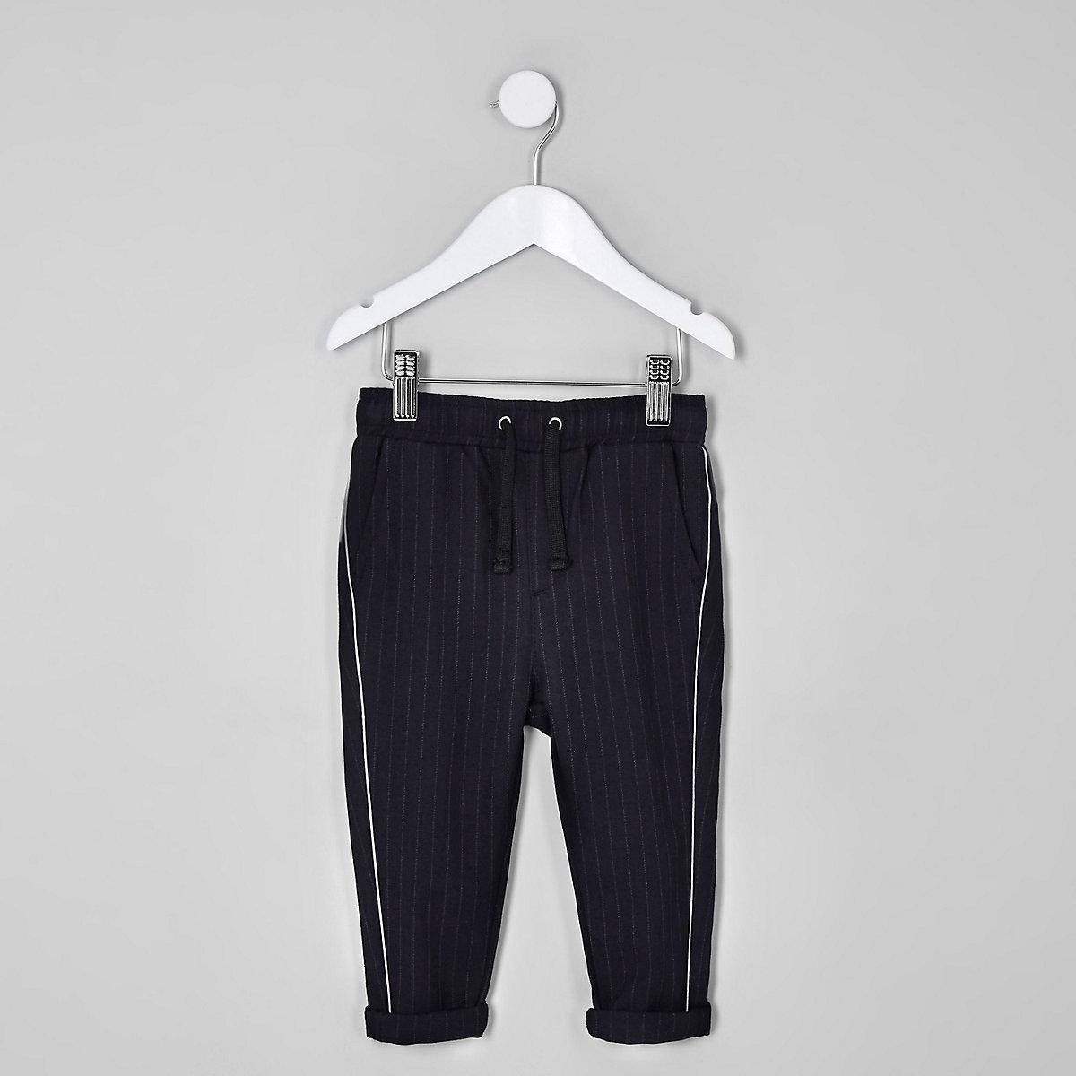 Mini boys navy pinstripe piped pants