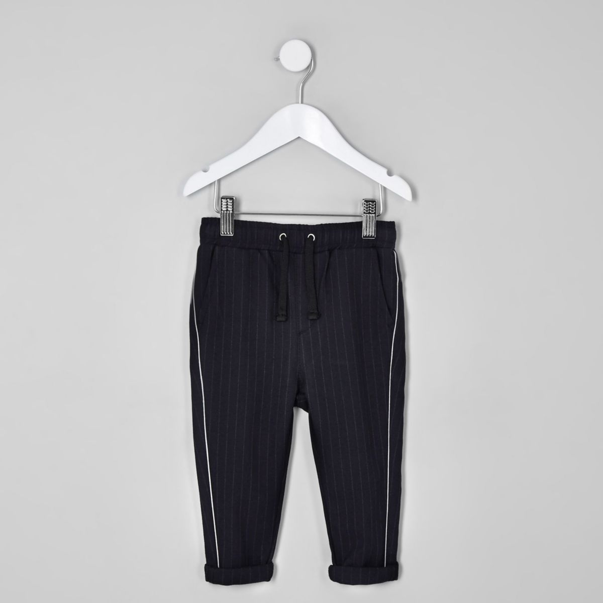 Mini boys navy pinstripe piped pants