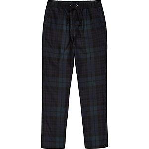 Pantalon à carreaux écossais bleu marine garçon