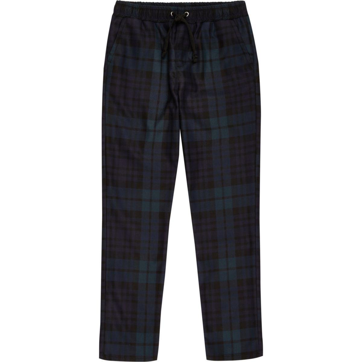 Boys navy plaid check pants