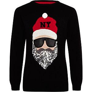 Zwarte kersttrui met Santa Claus voor kinderen