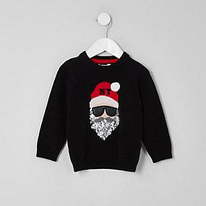 Mini - Zwarte kersttrui met Santa Claus voor kinderen
