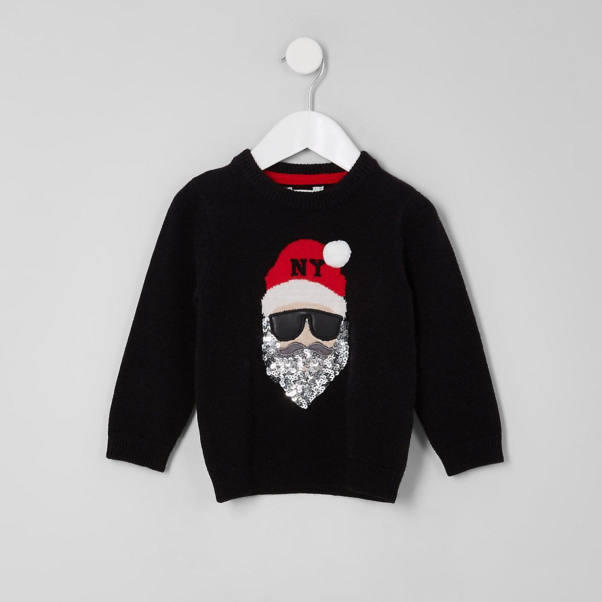 Mini Kids Black Santa Claus Christmas Sweater Baby Boys Tops