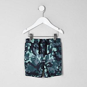 Short bleu à imprimé camouflage mini garçon