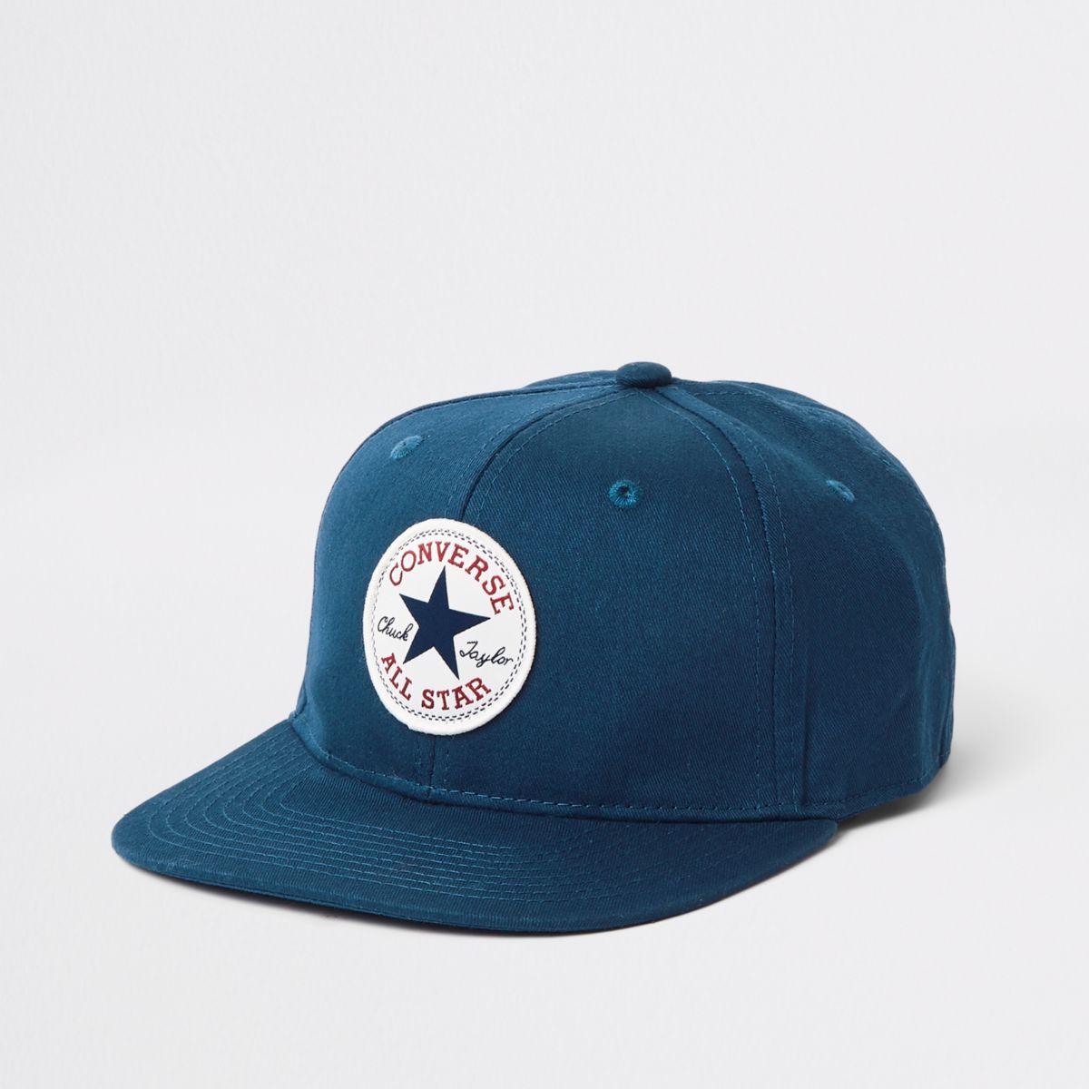 Boys navy Converse flat peak cap