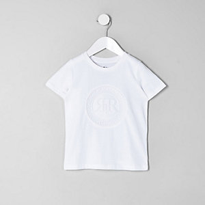 Mini - Wit T-shirt met RI-reliëf voor jongens