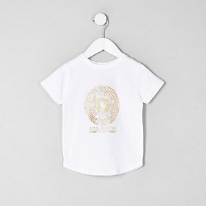 Mini boys white foil logo T-shirt