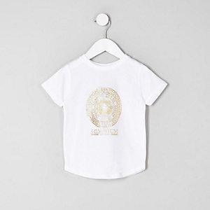 Mini - Wit T-shirt met logo in folieprint voor jongens