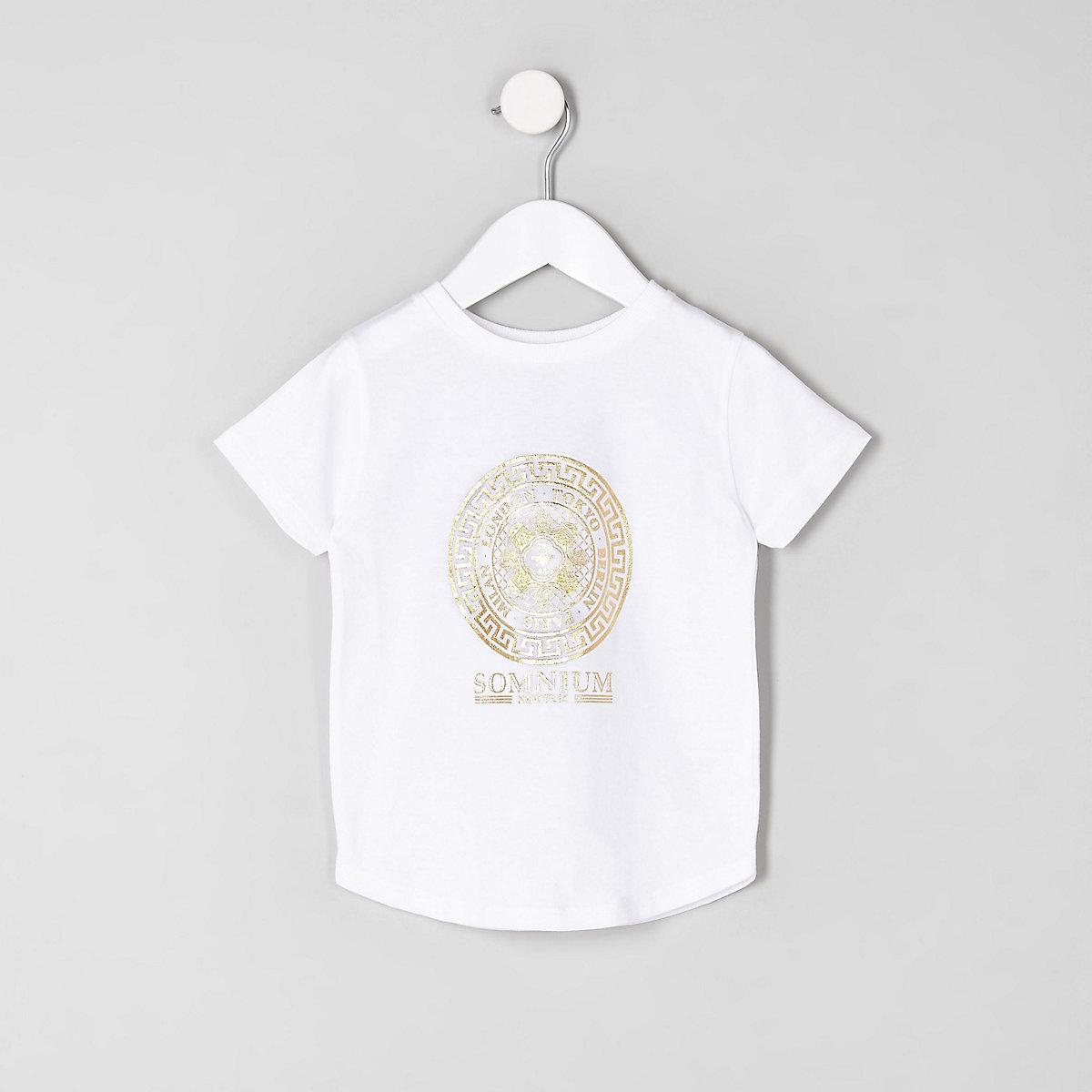 Mini boys white foil logo T-shirt