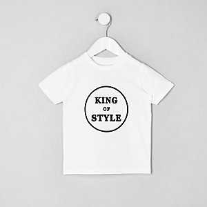 Mini garçon – T-shirt à imprimé « king of style » blanc