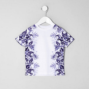Mini boys white floral print T-shirt