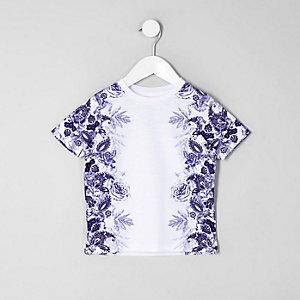 Mini - Wit T-shirt met bloemenprint voor jongens