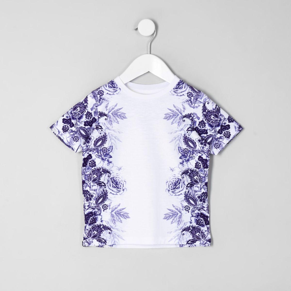 Mini boys white floral print T-shirt