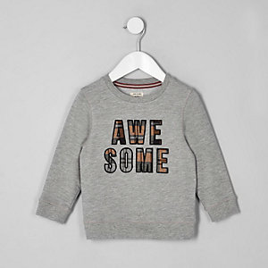 Sweat à carreaux gris avec inscription « Awesome » mini garçon