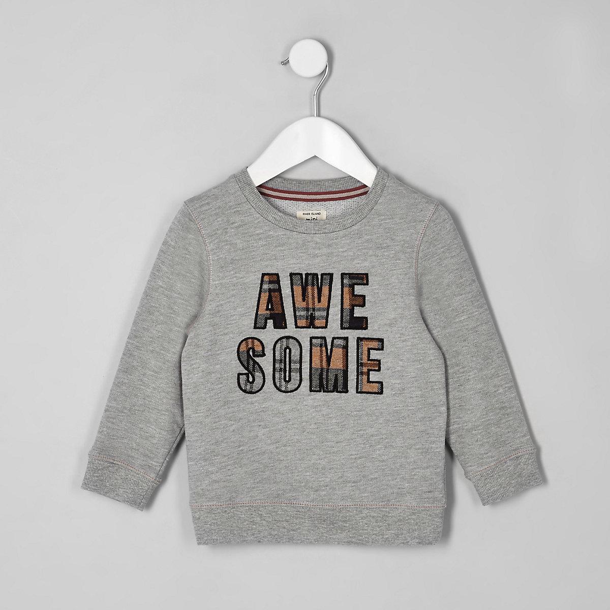 Mini boys grey 'Awesome' check sweatshirt