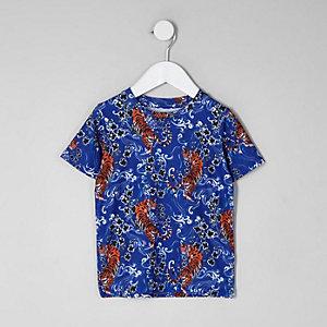 Blaues T-Shirt mit Tiger-Print