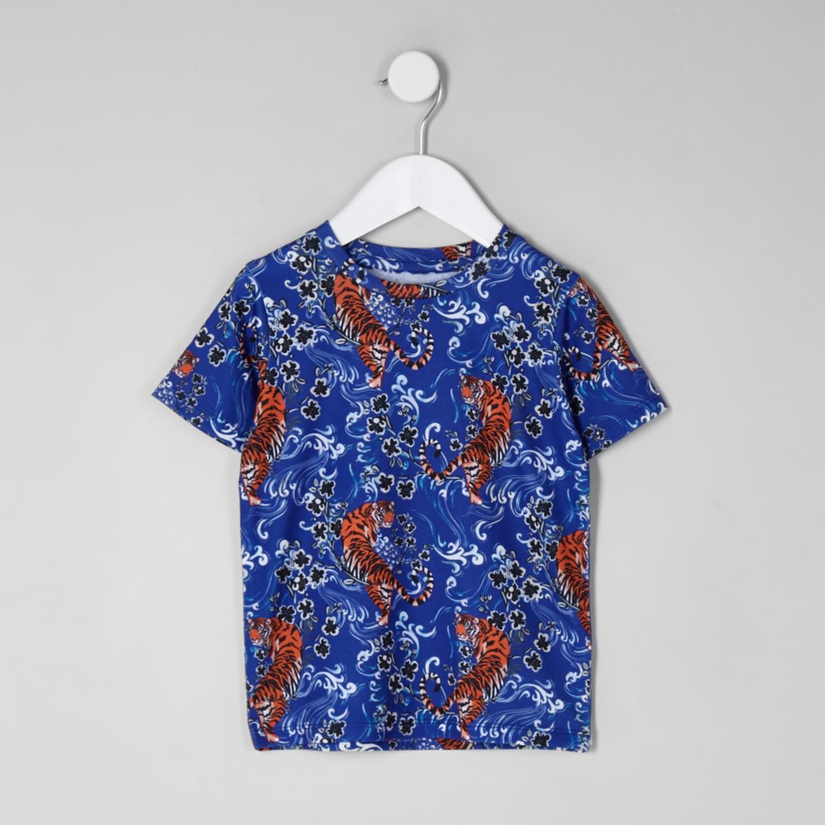 Mini boys blue tiger print T-shirt