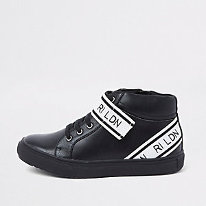 Boys black 'RI LDN' strap high top trainers