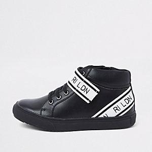 Zwarte hoge sneakers met 'RI LDN'-print en bandjes voor jongens