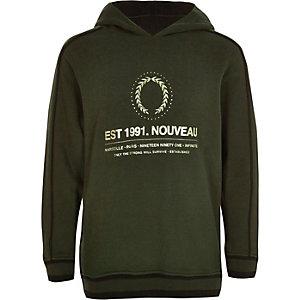 Boys khaki 'nouveau' foil logo hoodie