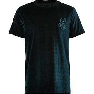 Blauw velours T-shirt met 'R96'-print voor jongens