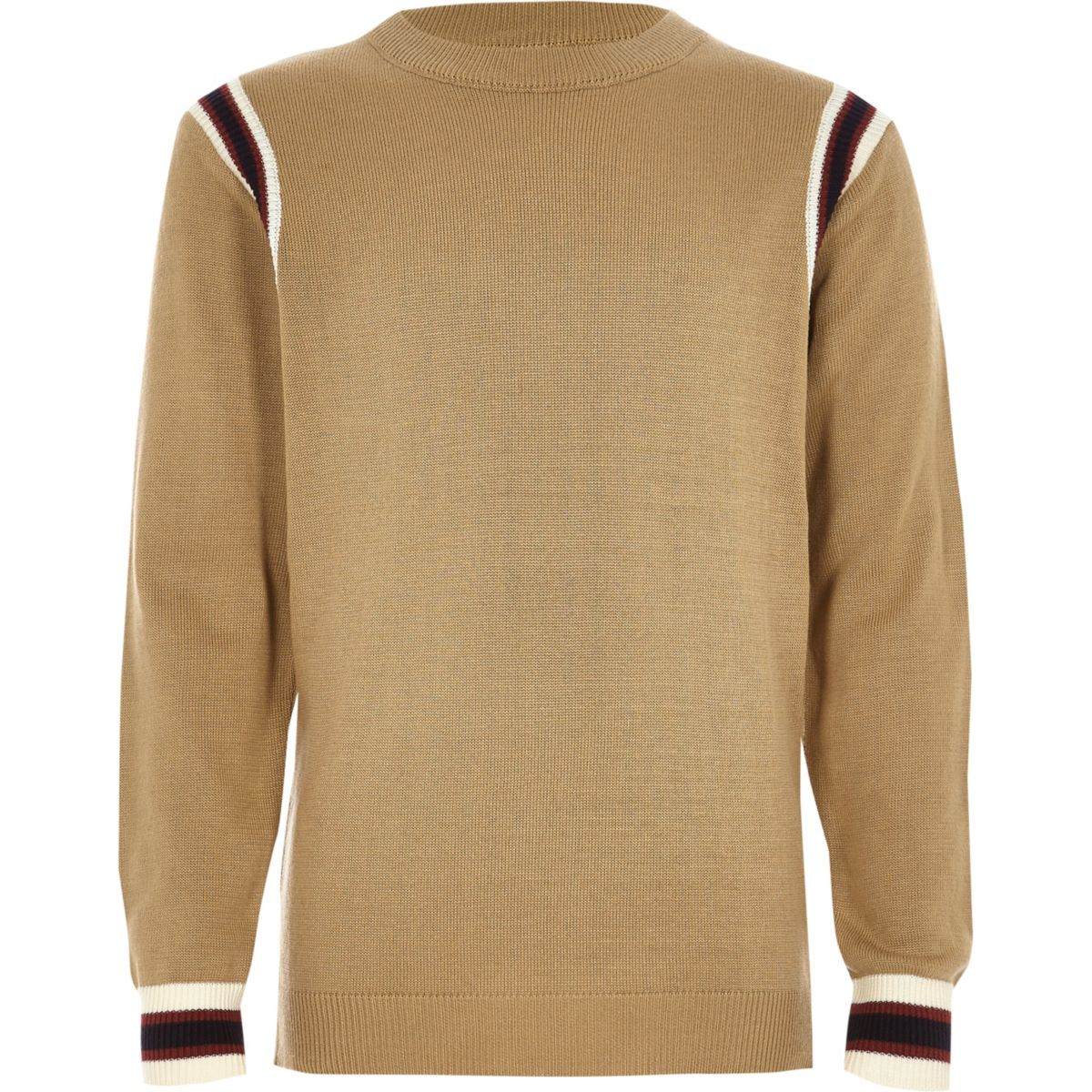 Boys brown striped contrast long sleeve top