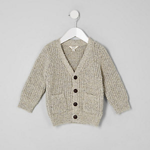Mini boys ecru knit button cardigan