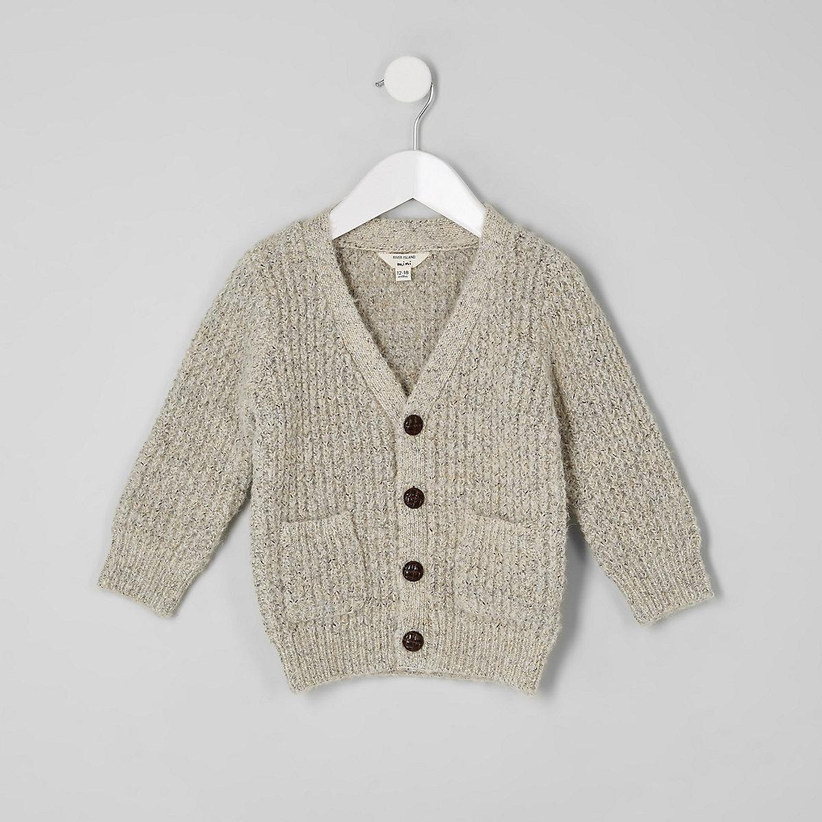 Mini boys ecru knit button cardigan