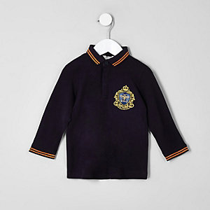 Mini boys navy badge tipped polo shirt