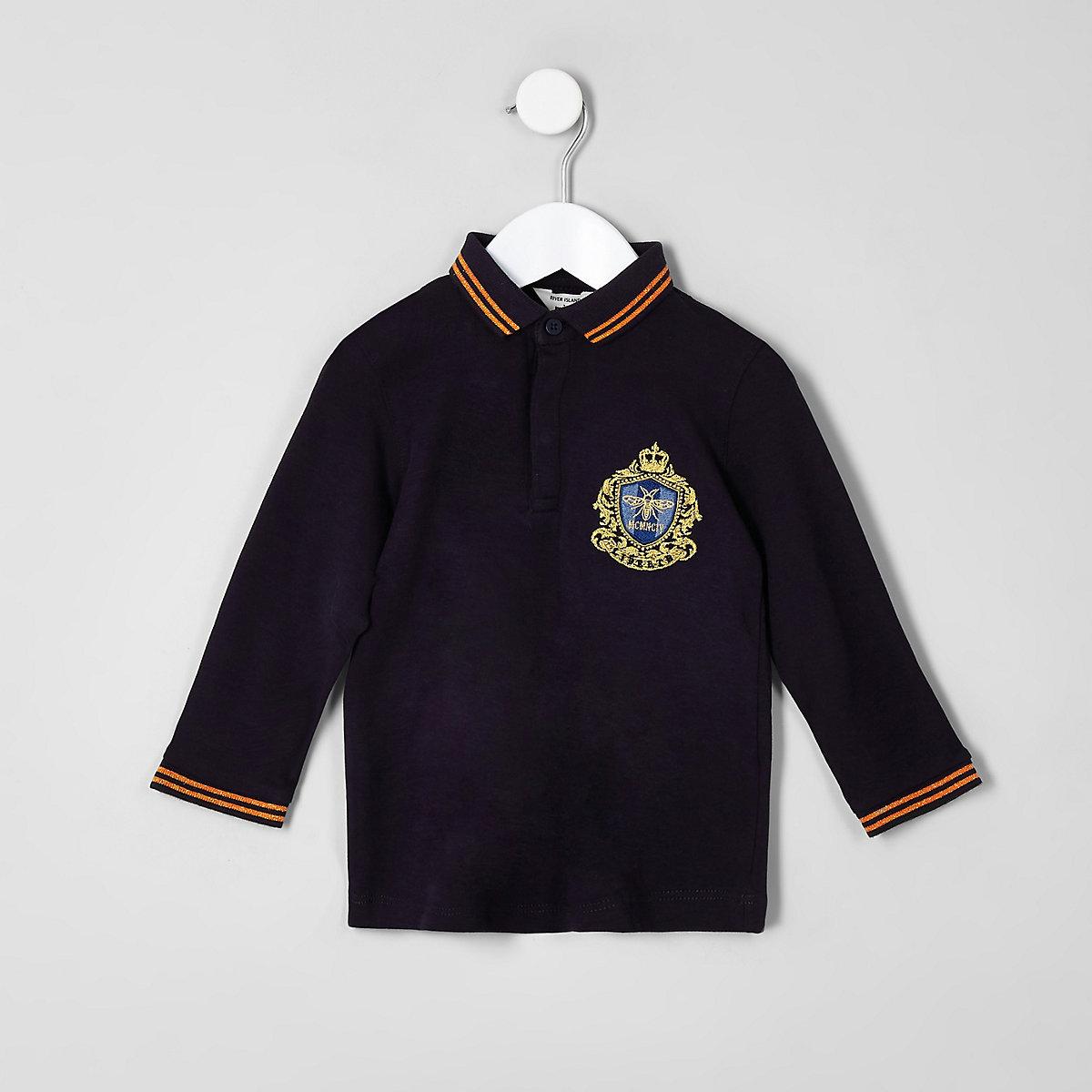 Mini boys navy badge tipped polo shirt