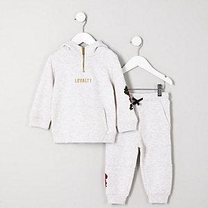 Mini - Outfit met grijze hoodie met geborduurde roos voor jongens
