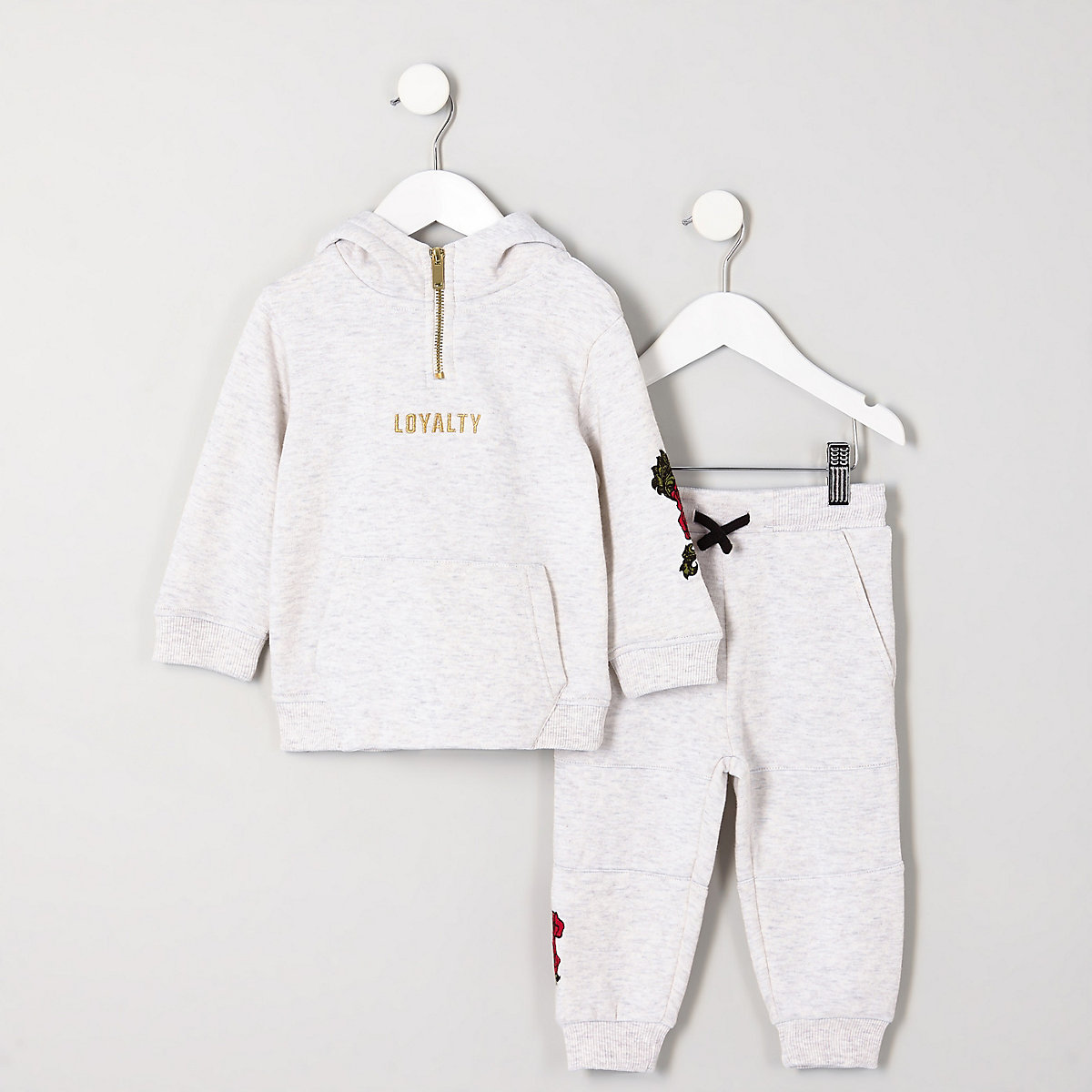 Mini boys grey rose embroidered hoodie outfit