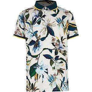 Boys white floral print polo shirt