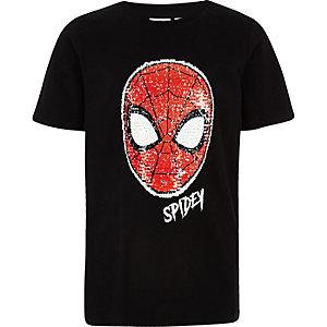 Spiderman – Schwarzes, paillettenverziertes T-Shirt