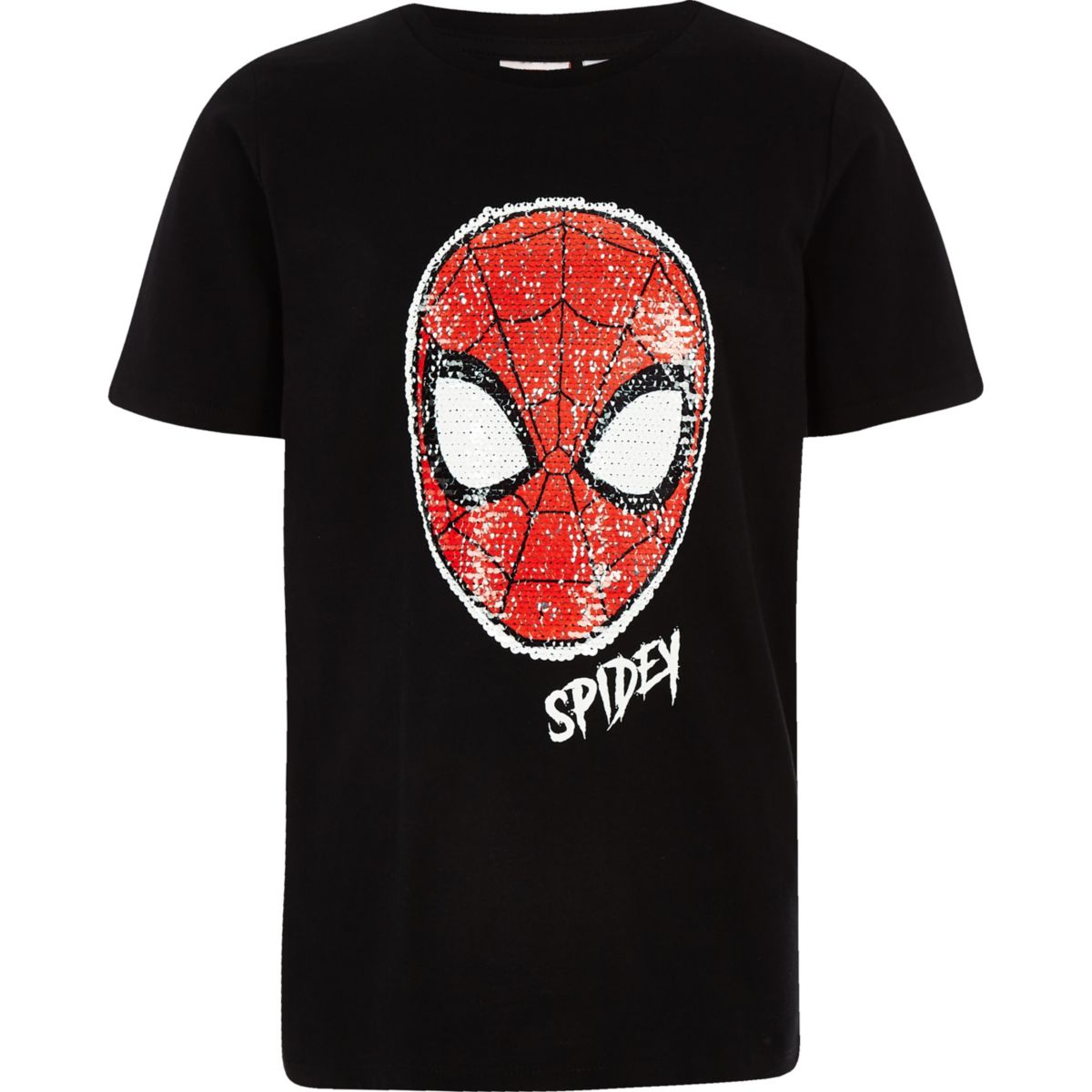 Boys black Spiderman Marvel sequin T-shirt