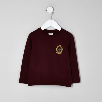 Mini Boys Dark Red Badge T Shirt by River Island