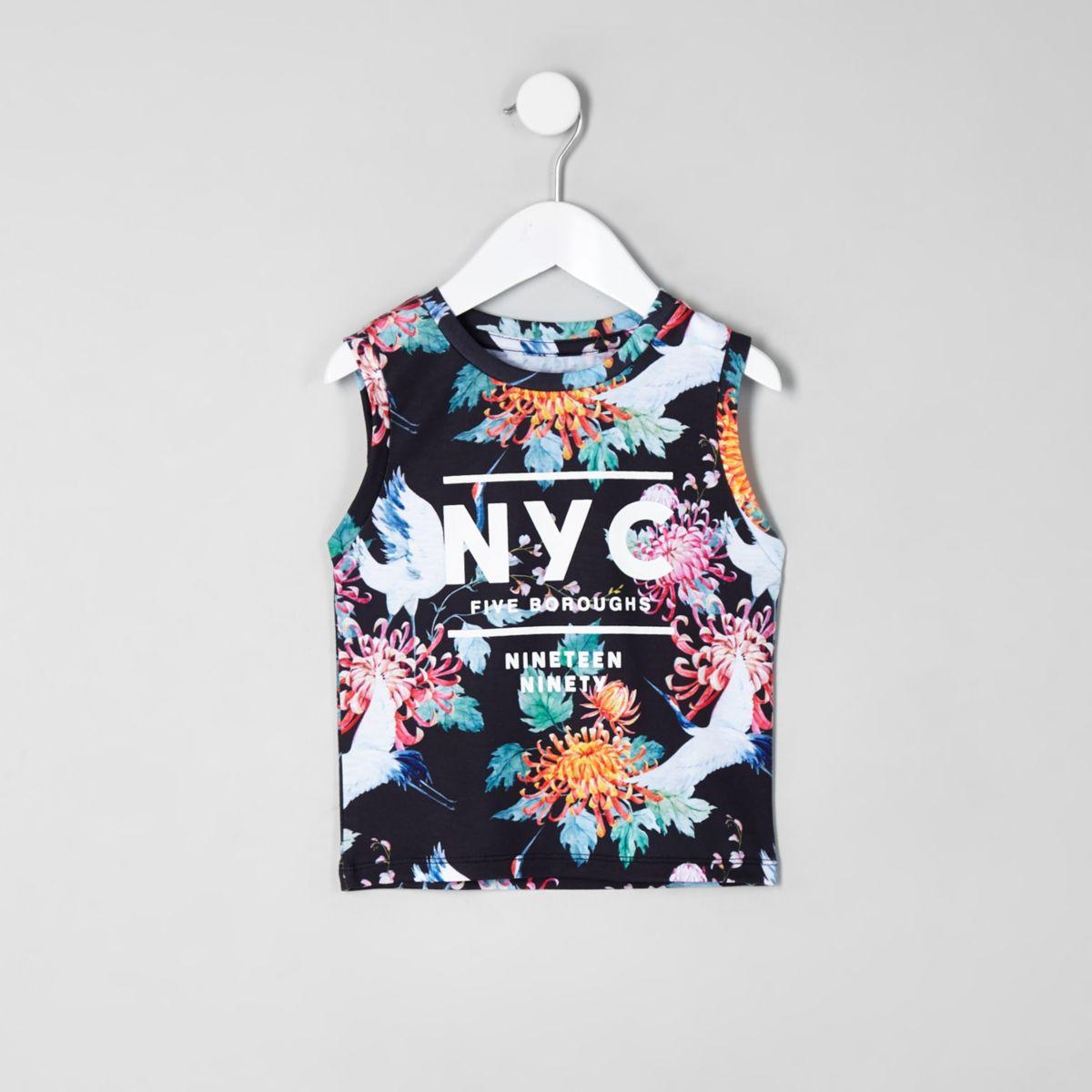 Mini boys black crane print vest