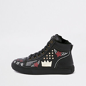 Kids black customised high top trainers
