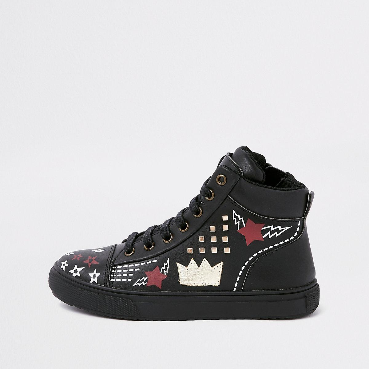 Kids black customised high top trainers