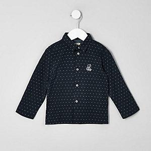 Chemise jacquard en jersey bleue mini garçon