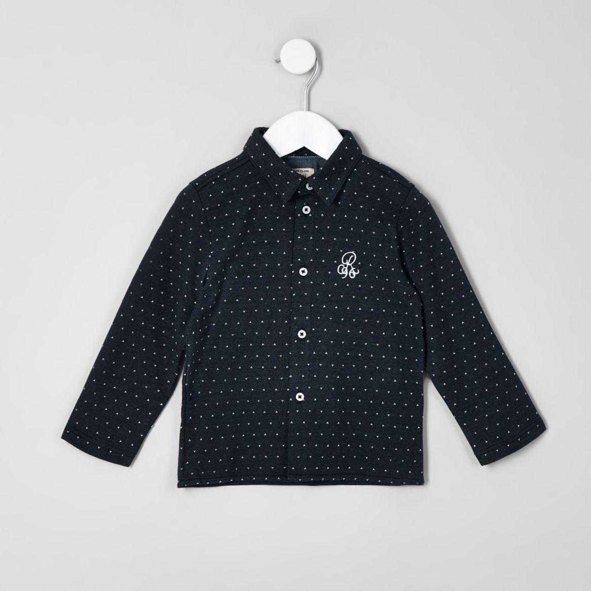 Mini boys blue jacquard jersey shirt